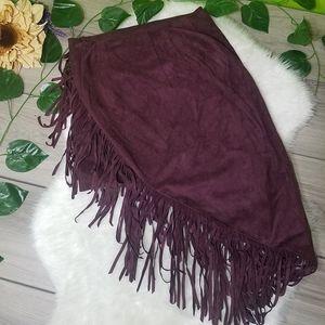 Express Fringe Suede Skirt New